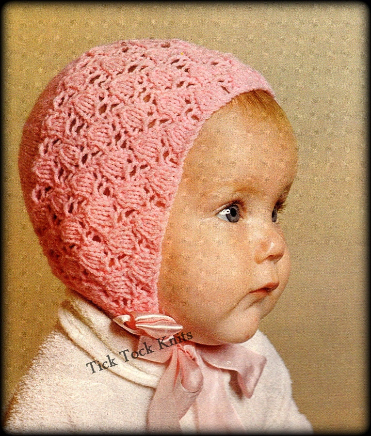 Knitting Needles Case Pattern : No.349 Baby Bonnet Knitting Pattern PDF Vintage Tulip Lace