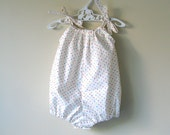 Baby girl romper bubble romper white with confetti polka dots playsuit