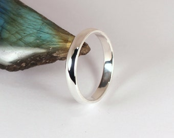 3mm Half Round Band Ring, Sterling Silver, Made to Order