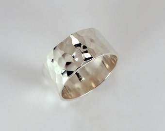 Straight Edged Hammered 10mm Wide Band Ring, Sterling Silver, Made to Order