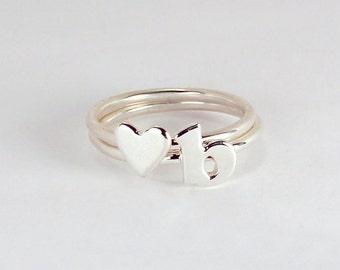 2 Stacking Rings - 1 Letter and 1 Heart in Sterling Silver, Made to Order