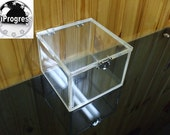 Square Clear 6 mm thk Acrylic Box With Hinged Lid
