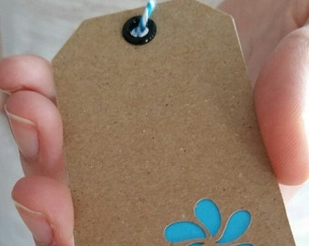 Flower Stamped Tag with Eyelet and Baker's Twine (Set of 6)