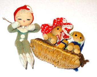 2 vintage Christmas ornaments elf doll kids in raft japan decorations crafting