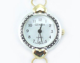 Geneva Two-Tone (Gold & Silver) Heart Watch Face With Loops ~ 23 mm Face