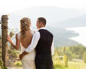 20_Bridal flower crown, Gold hair accessories, Circlet of flowers, Flower crown, Bridal wedding headband, Crown flowers, White flower crown.