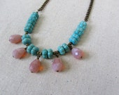 Spring Statement Necklace, Turquoise + Pink Necklace, Glass Teardrop Necklace, Chunky Necklace