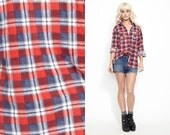Vintage 90s PLAID Button Down Flannel Checkered Shirt Top //