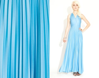 Vintage 70s Pleated Plunging Maxi Dress / Baby Blue // Spaghetti Straps // Open Back // Plunging deep V