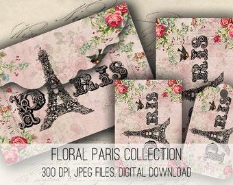 Digital Collage Sheet Download - Floral Paris Envelopes, Tags & Cards - 1155  - Digital Paper - Instant Download Printables