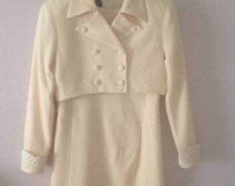 Gorgeous Vintage Wool Dress With Cropped Jacket by Gillian Made in USA, Size 4
