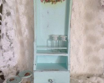 Vintage Wood Spice Shelf Cubby Distressed Shabby Robins Egg Blue Green