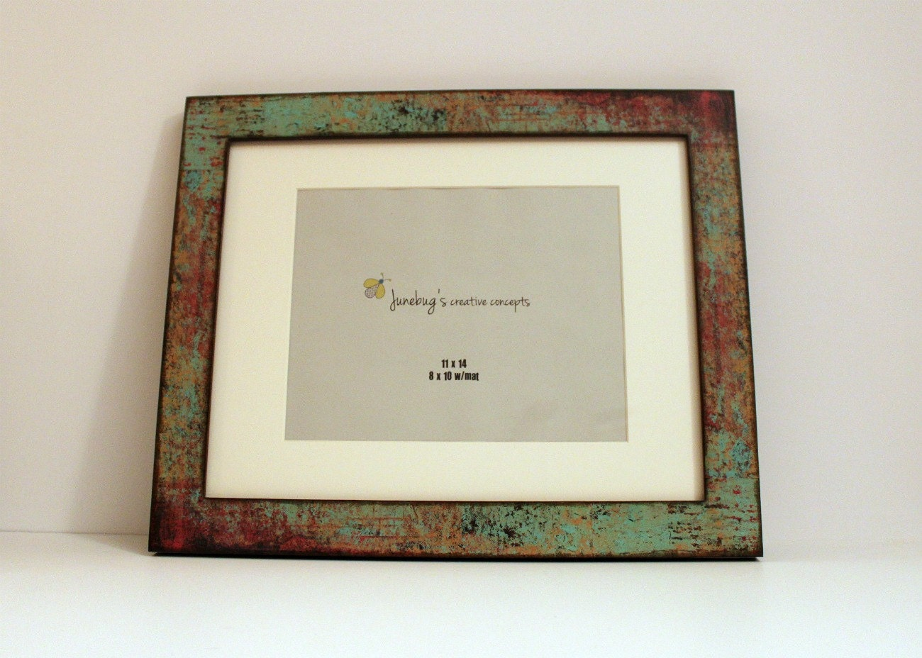 11x14 8x10 mat wood photo frame oxidized turquoise red. Black Bedroom Furniture Sets. Home Design Ideas