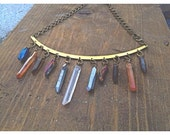 Quartz Crystal Raw Brass Large Collar Necklace Choker, 11 Crystals Total.