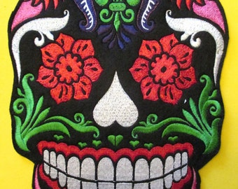 Huge 11 1/2 by 7 3/4 In. Jumbo Embroidered Sugar Skull, Day of the Dead, Dia de los Muertos, Applique Patch, Jacket Patch, Sew On oe Iron On