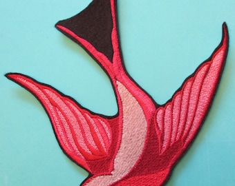 Large Embroidered Tula Pink Swooping Swallow Applique Patch from the Birds and the Bees Collection of Tula Pink  Iron On or Sew On