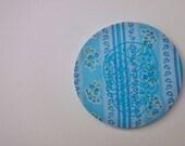 Embroidery Hoop Art - Sugar Skull Embroidery Art - 6 Inch Hoop - Blue Flowers - Halloween - Day of the Dead