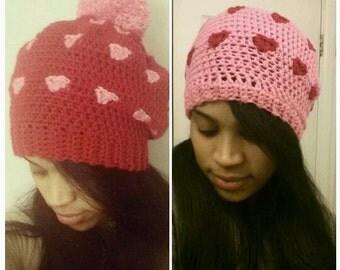 Bunches of Love, Valentine's hat, love hat, hearts hat, women hearts hat, Valentine's day hat, heart slouchy