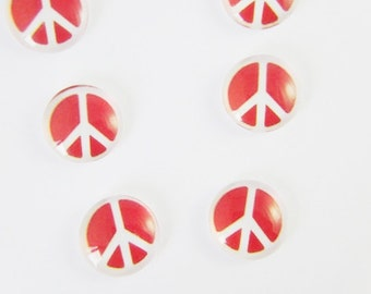 Clearance Sale Peace Sign Cabochon Red White STR825