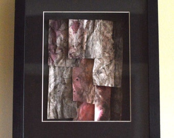 ORIGINAL ARTWORK COLLAGE Hand Dyed Paper Collage, Shades of Pink in a Frame , Watercolour Inks Tile Effect