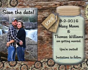 Rustic wedding save the date, rustic, metal, gears, personalized, YOU print, printable, mason jar