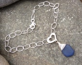 Sea glass jewelry,  Wire wrapped blue sea glass and sterling silver heart bracelet