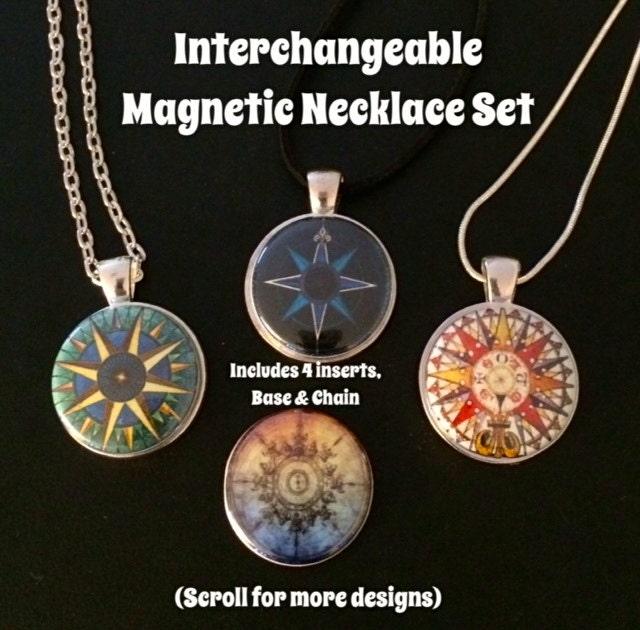 compass interchangeable magnetic pendant necklace or bracelet