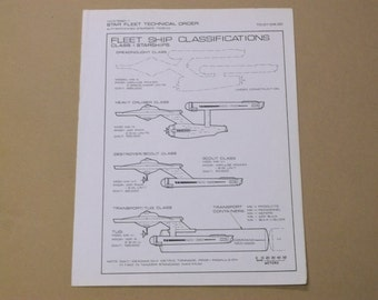 Vintage 1975 Star Trek Fleet Ship Classifications Technical Order