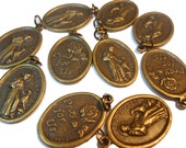 10 Saint Francis medals with pet Pray for Us in bronze with jump rings