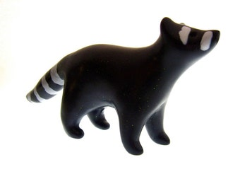 Ronny Raccoon sparkly dark gray handmade OOAK polymer clay figurine animal forest friend