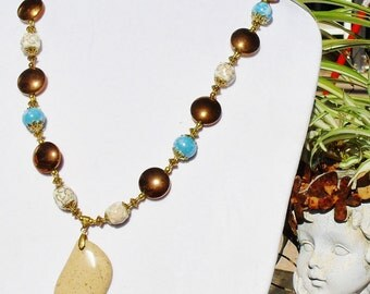 Copper & aqua jewelry set, sandstone jewelry, copper jewelry, aqua jewelry, artisan jewelry, leopard print jewelry, gift set, Item 2014-533