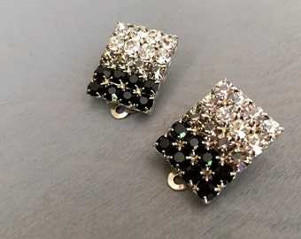 Ombre Earrings Vintage Rhinestone Earrings Square Black Grey Crystal Gradient 1970s Jewelry