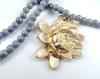 Lotus flower beaded necklace