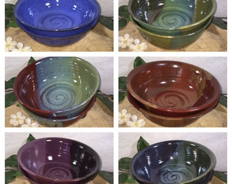Custom Set of Two Pottery Pasta Bowls - Made to Order extra large pottery soup bowls- Choose your Color -  ceramics - pottery - stoneware