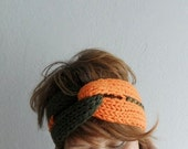 Knitted Headband Turban Headband Chunky Earwarmer Twist Headband Hair Accessory Two Color Orange Army Green