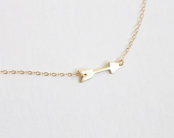Sideways Arrow Necklace - 14k Gold Filled and Sterling Silver