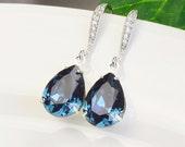 Navy Blue Earrings - Swarovski Teardrop Earrings - Navy Blue Bridesmaid Earrings - Sapphire Blue Bridal Jewelry - Wedding Jewelry
