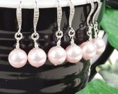 Pink Pearl Earrings SET OF 4 - 8% OFF Pearl Bridesmaid Earrings - Swarovski Pearl Drop Earrings - Pearl Bridesmaid Jewelry - Wedding Jewelry