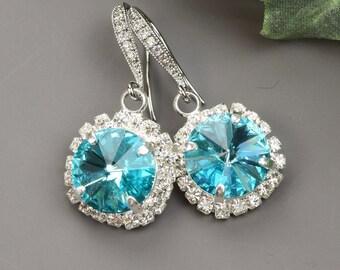 Turquoise Blue Earrings - Swarovski Crystal Earrings for Bridesmaids - Bridesmaid Jewelry - Turquoise Earrings Silver - Wedding Earrings