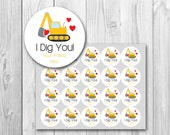Valentine's Day gift tags, I Dig You Valentine card, printable gift tags, instant download, personalized Valentine's Day card