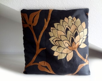 Black cushion, flowered pillow, cushion cover, with big bronze flower, 16x16