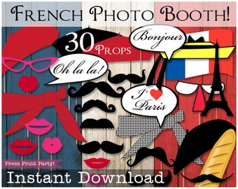 Paris Party Photo Booth Props - French Party - Instant Download Printables