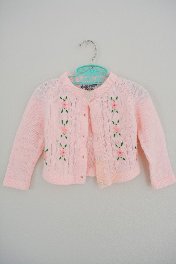 Baby Girl Cardigan // Pink Vintage baby Sweater