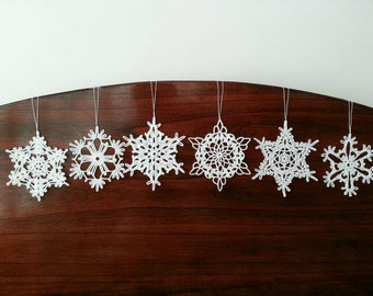 Six White Crochet Snowflake Christmas Decoration Ornaments Wall Hanging Modern Wall Art Baby Mobile Parts