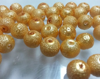 50 Beads - 10mm Yellow Gold Round Glass Stardust Pearl Beads BD0279