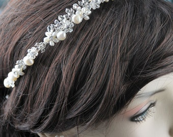 Vintage Inspired, Bridal Headband, Freshwater Pearl, Rhinestone Bridal Headband, Crystal Wedding Headband, Wedding Bridal Hair Accessories