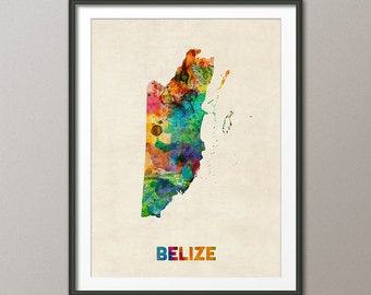 Belize Watercolor Map, Art Print (1332)