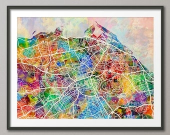 Edinburgh Map, Scotland, Edinburgh City Street Map Art Print (1348)