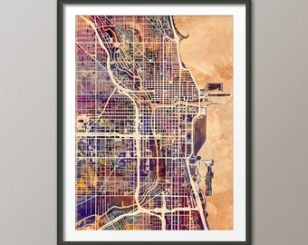 Chicago Illinois Street Map, Watercolor Map of Chicago, Art Print (1521)