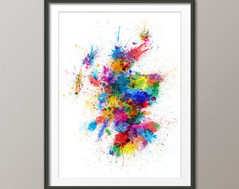 Scotland Paint Splashes Map, Art Print (1426)